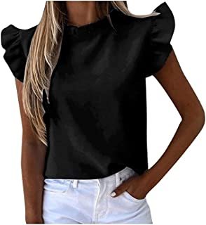Fyuanmeiinsdxnv Womens tops summer Womens Ruffles T-Shirt Solid Color Short Sleeve Slim T Shirts Ladies Daily Casual Plus ...