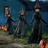 Halloween Decor Witch, Visiting Light-Up Witches with Stakes, Hand-held Hands Screaming Witch Sound Activation Sensor, DIY Outdoor Decor Life Witch Decoration Courtyard (3PC)