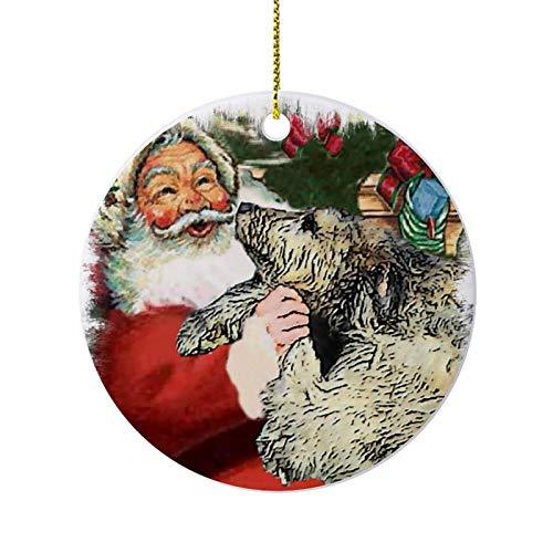 Christmas Ornaments, Irish Wolfhound Christmas Round Ornament, Ceramic Keepsake Decoration Ornament