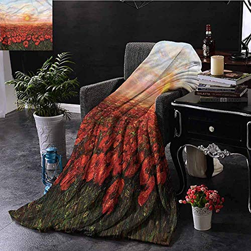 Bed Blanket, Fit Couch Sofa Lightweight Mikrofaser Premium Blanket For Bed Couch Chair, Flower/Wild Poppy Fields Sunset,50'x40'