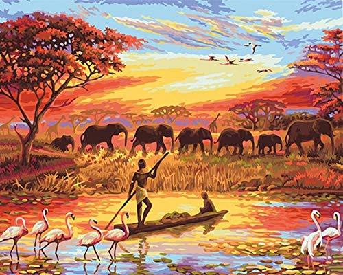 wwdfdd schilderen op nummer, geen lijst, olifant zonsondergang, doe-het-zelf schilderij door cijfers, landschap, moderne kunst, canvas, handgeschilderd, uniek cadeau voor thuis, 40 x 50 cm