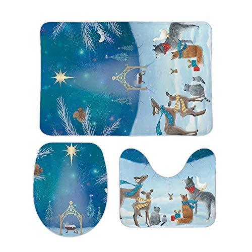 Leuke cartoon Painting His Love is Our Gift 3-delig Set van anti-slip Bath Rugs Including Badmat Contour Mat Toilet Lid Cover Home Doormat 18 x 30 inch 20 X 32 Inch Stijl#12