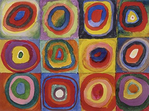Artland Alte Meister Kunst Wandtattoo Wassily Kandinsky Bilder Bauhaus 45 x 60 cm Farbstudie Quadrate und konzentrische Ringe Kunstdruck Klebefolie Gemälde R0OV