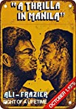 Home Decor Kitchen Living Room Wall Art 16x12,1975 Ali vs. Frazier Thrilla in Manila,Retro Metal Tin Poster Suitable for Garage Club Bar Wall Art Cafe Home Painting Decoration