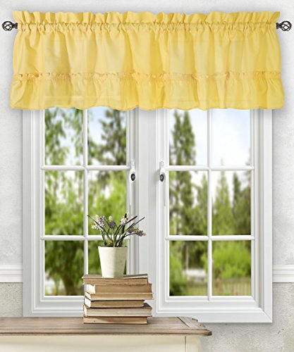 Simple Comfort Ellis Curtain Stacey 54-by-13 Inch Ruffled Filler Valance (Yellow)