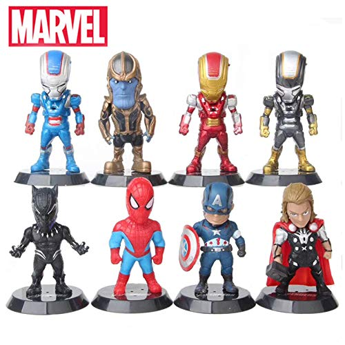 VNUSToys Marvel Legends Avengers Captain America Spiderman Thor Black Panther Mini Action Figure Toy Set New Year Gifts for Boys