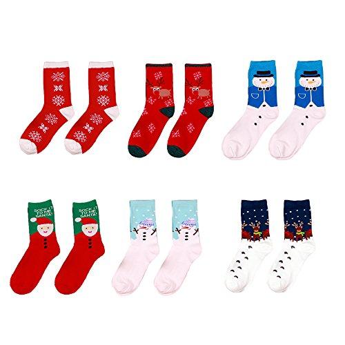 Vococal 6 Paires Chaussettes, Chaussettes Femmes de Coton Noël Santa Claus Chaussettes de Tube Moyen Ensemble pour les Femmes