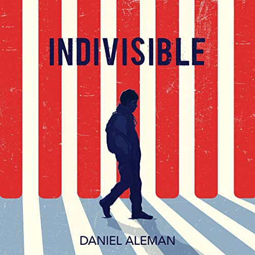 Indivisible book cover. Red and white stripes while a Latin teenager walks.