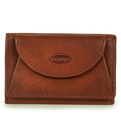 Branco 105, Kleine Geldbörse / Mini Portemonnaie Größe XS aus Leder, für Damen und Herren, Braun
