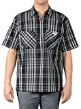 Ben Davis Men's Short Sleeve Plaid Half-Zip Work Shirt (2X-Large, Black/White)