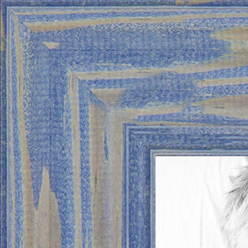 ArtToFrames 15x25 inch Deep Periwinkle Barnwood Frame Wood Picture Frame, 2WOM0066-56673-YBLU-15x25