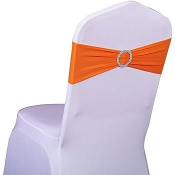 SINSSOWL 100 pcs élastique Spandex Housses de Chaise Bandes nœuds pour décorations de fête de Mariage de fournisseurs Chaise nœuds --Orange