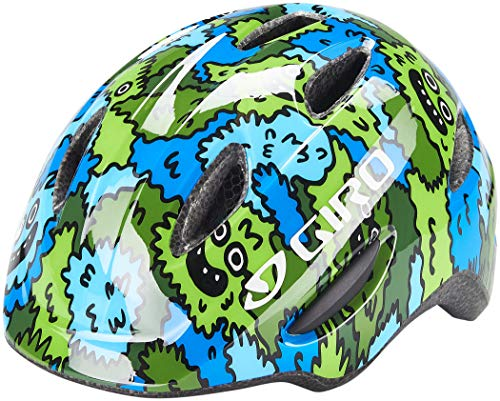 Giro Unisex Jugend Scamp Fahrradhelm Youth, blue/green creature camo, XS | 45-49cm