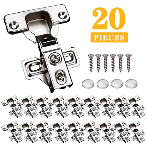 NYTiger 20 PCS Soft Close Satin Nickel Cabinet Door Hinges for Full Overlay Cupboard, 110 Degree Opening Angel, Stainless Concealed Frameless Kitchen Cabinet Hinges with Mounting Screws and Manual