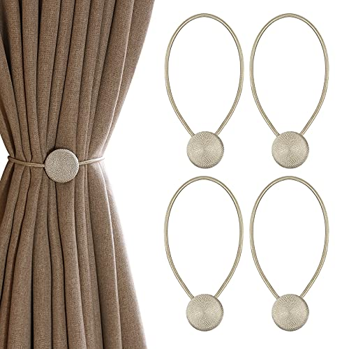 Voilamrt Curtain Tie Backs 4PCS, Magnetic Curtain Tiebacks, Tie Backs for Curtains, Curtain Weaving Holder Buckles for Drapes, Home, Office, Hotel Window Decoration (Beige)