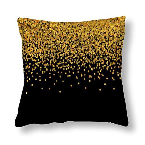 perfecone Home Improvement - Funda de almohada de algodón para sofá y coche, color dorado y negro, 1 paquete de 55 x 55 cm