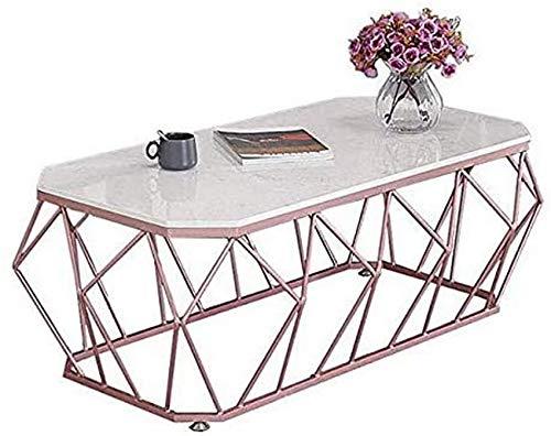 LJYY Wohnzimmer Tischmöbel Couchtisch, moderner Teetisch Home D & Eacute; COR Beistelltisch mit stabilem geometrischen Metallrahmen und Marmortischplatte, E, 45CM