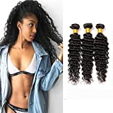 Brazilian Hair Curly Extension Deep Wave 3 Bundles Weave Virgin Remy Human Hair Extension Weft 300g Natural Color (10 12 14 Inches)