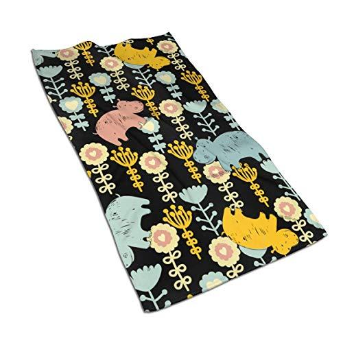 Teash Hippo Flowers Mikrofasertuch Schnelltrocknende Waschlappen Sporttuch 27,5 * 15,7In
