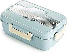 WZHZJ Microwave Lunch Box Wheat Straw Dinnerware Food Storage Container Children Kids School Office Portable Bento Box (Co...