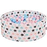 KiddyMoon 90X30cm/200 Balles ∅ 7Cm Piscine À Balles pour Bébé Rond Fabriqué en UE, Ecru:Baby Blue-Rose Poudré-Perle