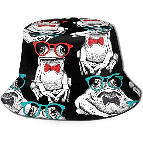 Ranas de Dibujos Animados Divertidos Unisex con Gafas Imprimir Sombrero de Cubo de Viaje Gorra de Pescador de Verano Sombrero de Sol Negro