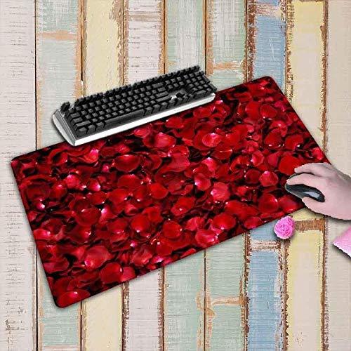 Alfombrilla de Ratón para Juegos con Diseño de Flores Rojas Alfombrilla de Goma con Borde de Bloqueo Alfombrilla Grande Xl para Escritorio Alfombrilla para Ordenador 800X300X3Mm