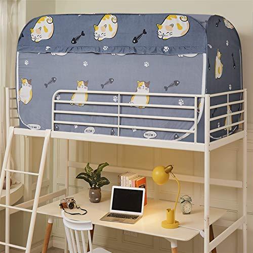 WWYYZ Dormitory Litera para cama individual, cortina de tienda de campaña para estudiantes, a prueba de polvo, protección de privacidad (azul - gato)