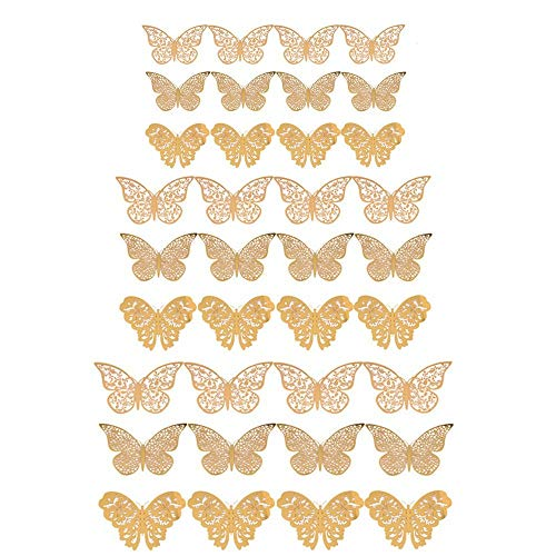 YUE Qin Butterfly Decorations 3D Butterfly Stickers Murals for Home,Bathroom,Livingroom,Girls Bedroom,Party Décor(36 pcs Champagne Gold)