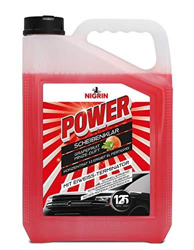 NIGRIN POWER Scheibenklar Konzentrat 1:2, Scheiben-Reiniger mit Eiweiß-Terminator und Grapefruit-Minze-Duft, 3 Liter Kanister