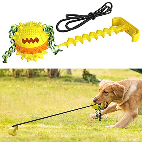 HallwayeeDog Tie-Outs & Stakes Toys Outdoor Powerful Tether Ball Toy Chew Ball with Elastic Rope Dog Food Dispensing Toys in Yard Park SoccerField for Medium & Large Dogs (Yellow)