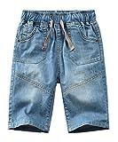 Echinodon Jungen Jeans Shorts 1/2 Kurze Hose Kinder Sommer Jeanshose Weich/Leicht/Atmungsaktiv F 128