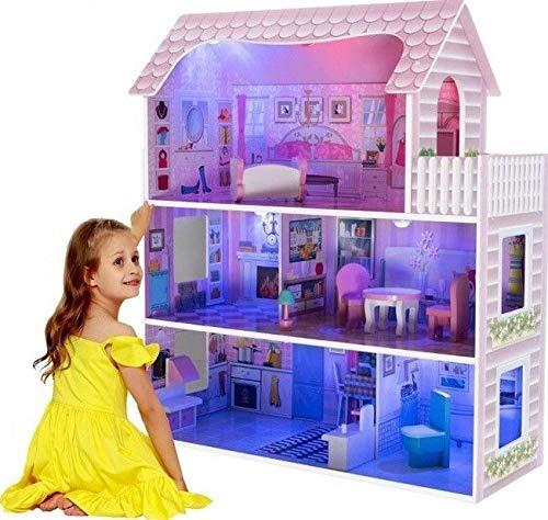 LED Puppenhaus aus Holz, Große Spielset mit Möbeln und Zubehör Möbel Top Qualität Größe: 70x60x23cm