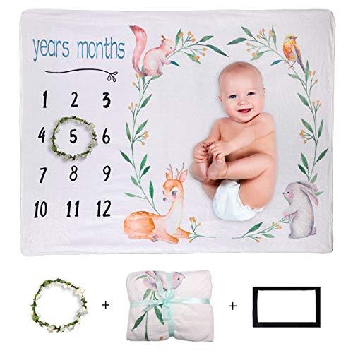 """Xiangmall Manta Fotografia Bebes Manta Bebé de Hitos Mensuales Regalos para Mamas Embarazadas y Regalo Baby Shower (Animal, 47"""" x 39"""")"""