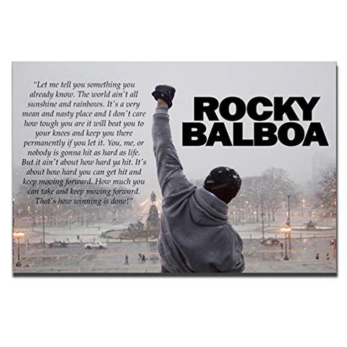 Rocky Balboa Leinwanddrucke Kunst Sprachmotivation Hoffnung Zitat Groß Kunstwerk Boxing Sylvester Stallone Grey Leinwand Poster Wohnzimmer Dekoration Wandkunst, Ungerahmt,60×90cm