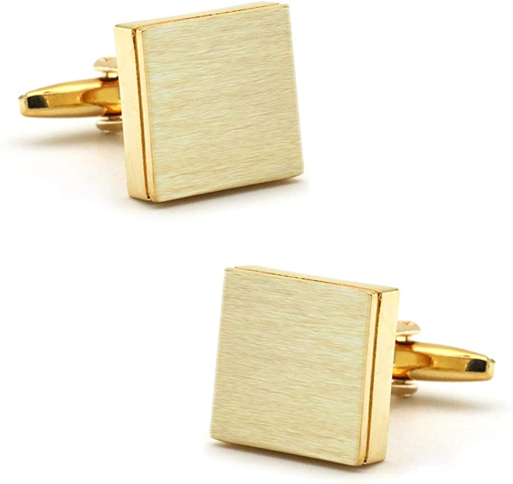 Brushed Square Gold Cufflinks