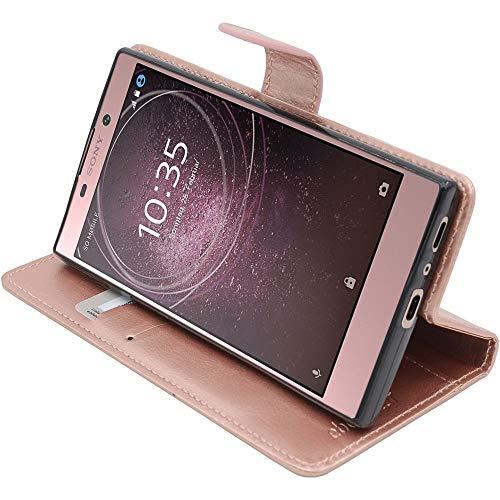 ebestStar - kompatibel mit Sony Xperia L2 Hülle L2 Dual (2018) Kunstleder Wallet Hülle Handyhülle [PU Leder], Kartenfächern, Standfunktion, Pink Gold [Phone: 150 x 78 x 9.8mm, 5.5'']