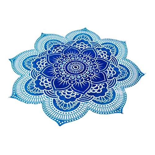 Pixnor Mandala Runde Lotus Strand werfen Gobelin Decke Wolldecke Hippie Boho Zigeuner Tischdecke Strandtuch Runde Yoga Matte blau