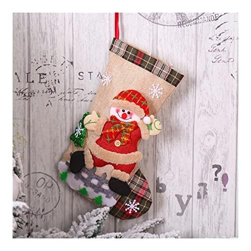JJY Colgante de la Media de Navidad Santa Claus Snowman Socks Gift de Navidad for niños Árbol de Navidad Colgando Imagen de la Medalla (Color : D)