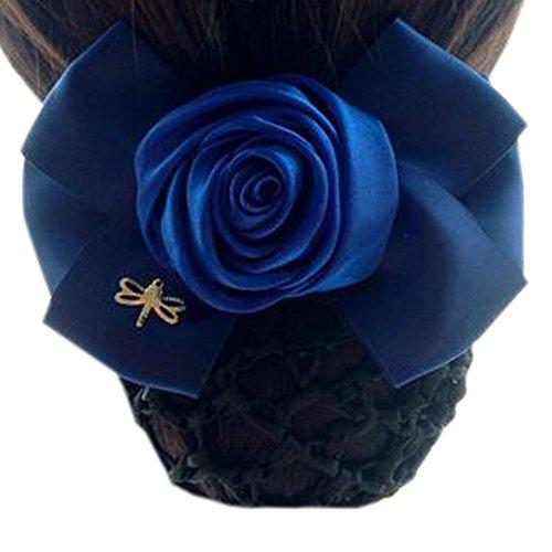 Accessoires de cheveux de fleur de dames filet élastique de cheveux d'arc Snood Net Bun Couverture de cheveux, bleu pur G19