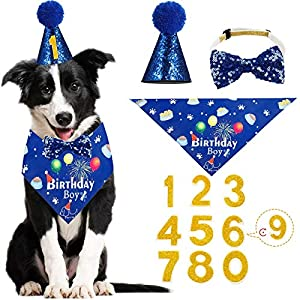 UNKNOWM Dog Birthday Party Supplies,Dog Birthday Hat,Decorated with Hat Bow,Bandana and Bows,Blue Double Layer Soft Triangle Scarf Bib for Small Dog
