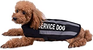 AMOFY Dog Vest Coat Reflective Protect Service Waterproof High-Visibility Safety Fleece Lined Button Vest Prevents Accidents Protect Dog Black