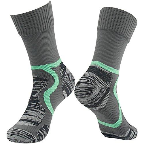 Waterproof Hiking Walking Socks, Training Socks RANDY SUN Men's Novelty Fashion Seamless Toe Socks Gray&Green L