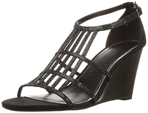 Athena Alexander Women's Hampton Wedge Sandal, Black Suede, 9 M US