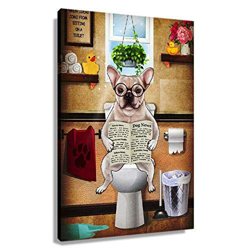 DAILYZLY Frenchie Flush Toilet Poster Decorations for Office Canvas Painting for Living Room Wall Bedroom Paintings for Bathroom Giclee Prints Decorative Artwork Pictures Printed Canvas Picture Gifts (12x18inch(30x45cm),Framed)