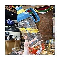 わら、時間マーカー、フィットネス/キャンプのための耐久性に優れた水水差し、ポータブルハンドル、ビッグカップ、高速流れと大容量スポーツボトル (Color : A)