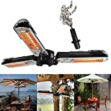 Patio Parasol Heater, Free Standing Outdoor Parasol Heater Folding Electric Infrared Space Heater With 3 Heating Panels 1950W Radiant Heater Garden,Black