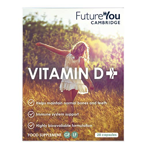 Vitamin D+ with D3 (Cholecalciferol) 1,000 IU - Highly Bioavailable Sunflower Formulation - 28 Day Supply - Vegetarian Suitable Supplement - Developed by FutureYou Cambridge, UK