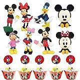 Cake Topper Pastel Decoración Suministros,32 piezas Mickey Topper Tarta Decoración,Niños Mini Muñeca Hecha a Mano Shower Fiesta Cumpleaños Pastel Decoración Suministros