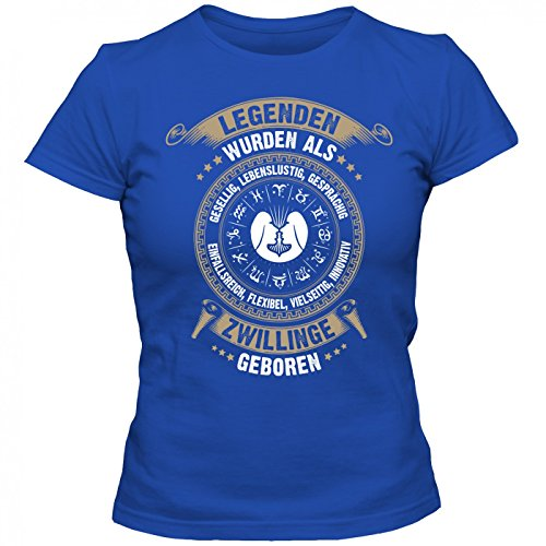 Sternzeichen Zwillinge #2 T-Shirt | Astrologie | Horoskop | Legenden | Frauen | Shirt, Farbe:Blau (Royalblue L191);Größe:L